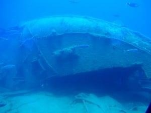 pecio desde el submarino